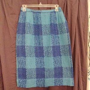 Vtg 60s Darlene Coordinates Blue Plaid Wool Skirt